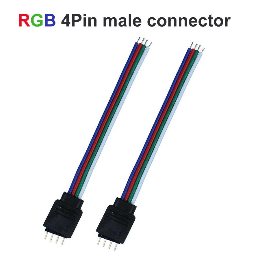 2 pz/lotto pin RGB HA CONDOTTO Il Regolatore di RGB maschio connettore del cavo di legare per RGB ha condotto la striscia 4 pin cavo led per RGB HA CONDOTTO Il Regolatore