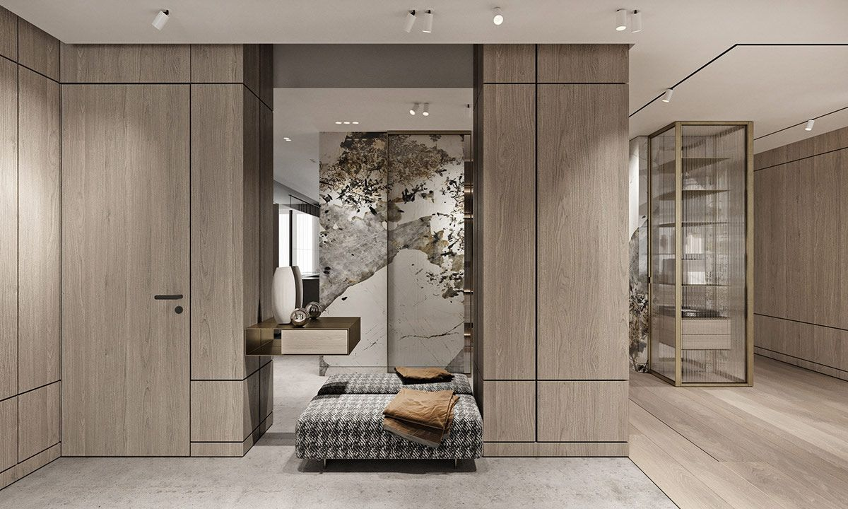 Magnificent Modern Marble Interior With Metallic Accents Marble Interior Modern Interior Large Bathroom Design