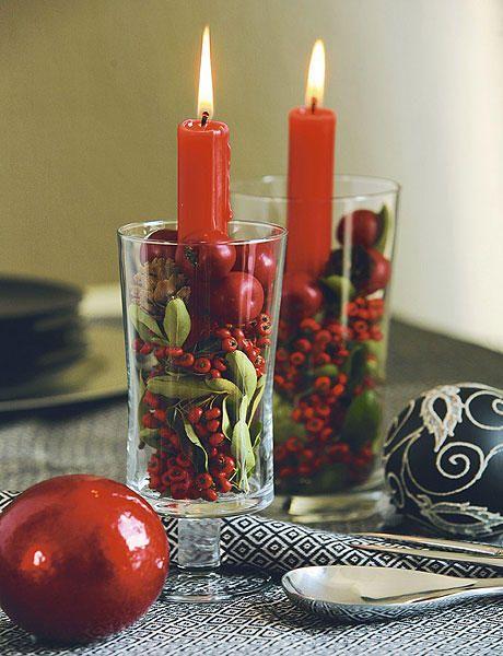 Copa con vela y frutos secos manualidades con copas - Centros de navidad originales ...