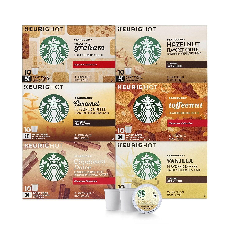 Starbucks Flavored Coffee Variety Keurig Brewers 6 boxes