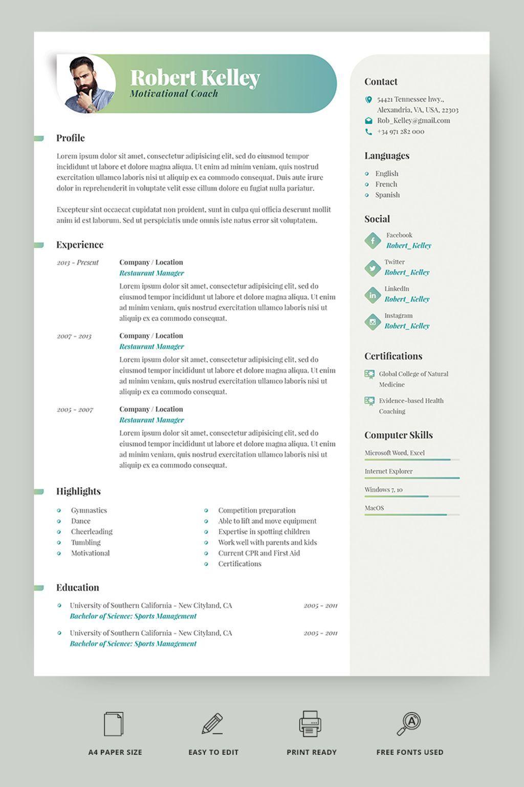 Robert Kelley Motivational Coach Resume Template 66773 Teacher Resume Template Resume Template Resume Design