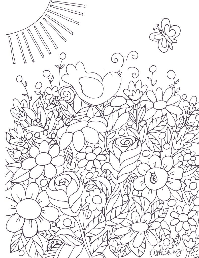 Adult Coloring Pages | Butterfly, Bird and Adult coloring