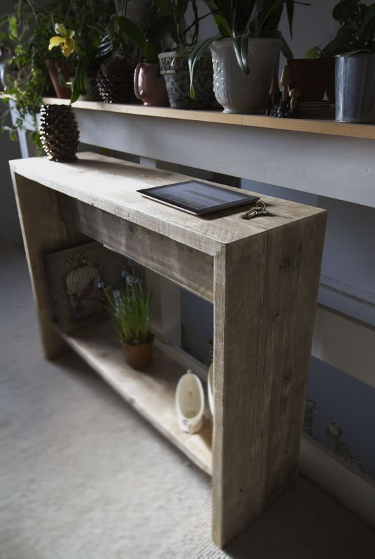 Reclaimed wooden console table. Www.naturalcityfurniture.co.uk