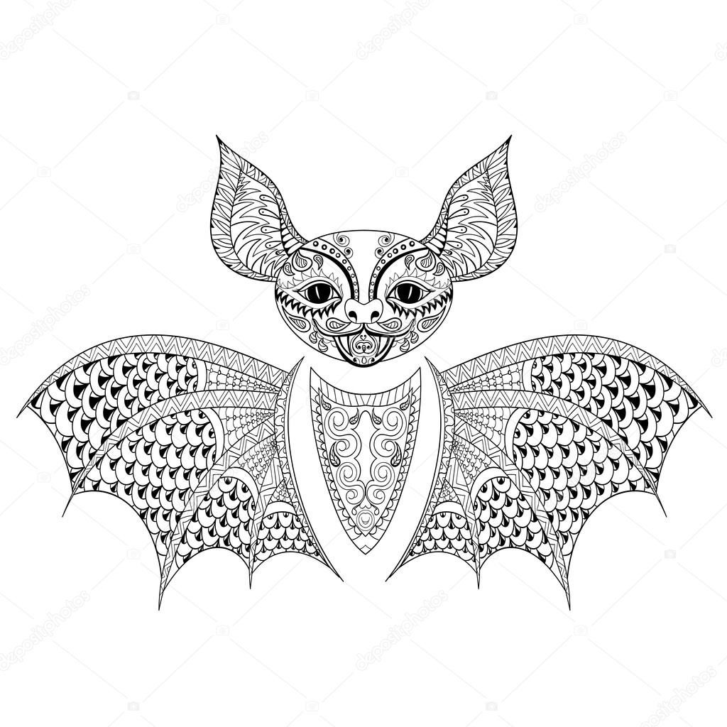 zentangle bat totem for anti stress coloring page for art