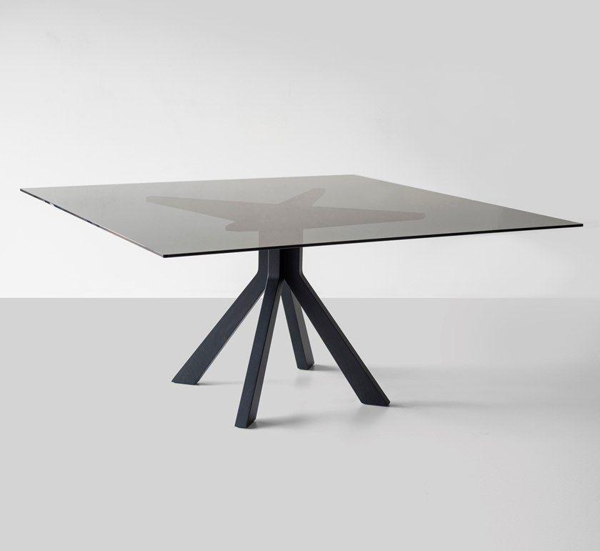 Tavolo da pranzo quadrato in legno e vetro BRIDGE BLACK By ...