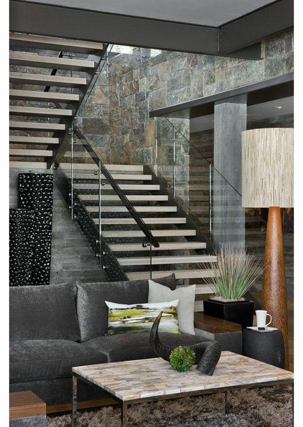 wohnideen treppe mit dekoornamente wohnzimmer sofa tisch stairs - wohnideen für wohnzimmer