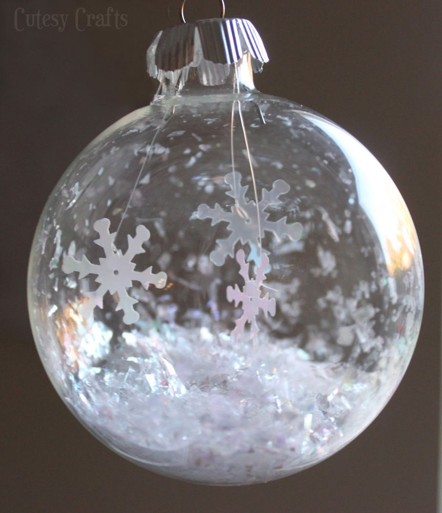 Glass Ball Snowflake Ornament Cutesy Crafts Christmas Ornaments Glass Christmas Ornaments Handmade Christmas Ornaments