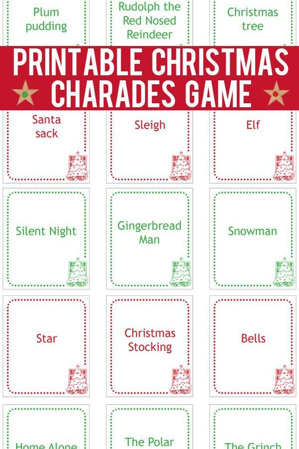 Christmas Charades Cards Printable Game Cards To Print And Play Christmas Charades Printable Christmas Charades Christmas Charades Game