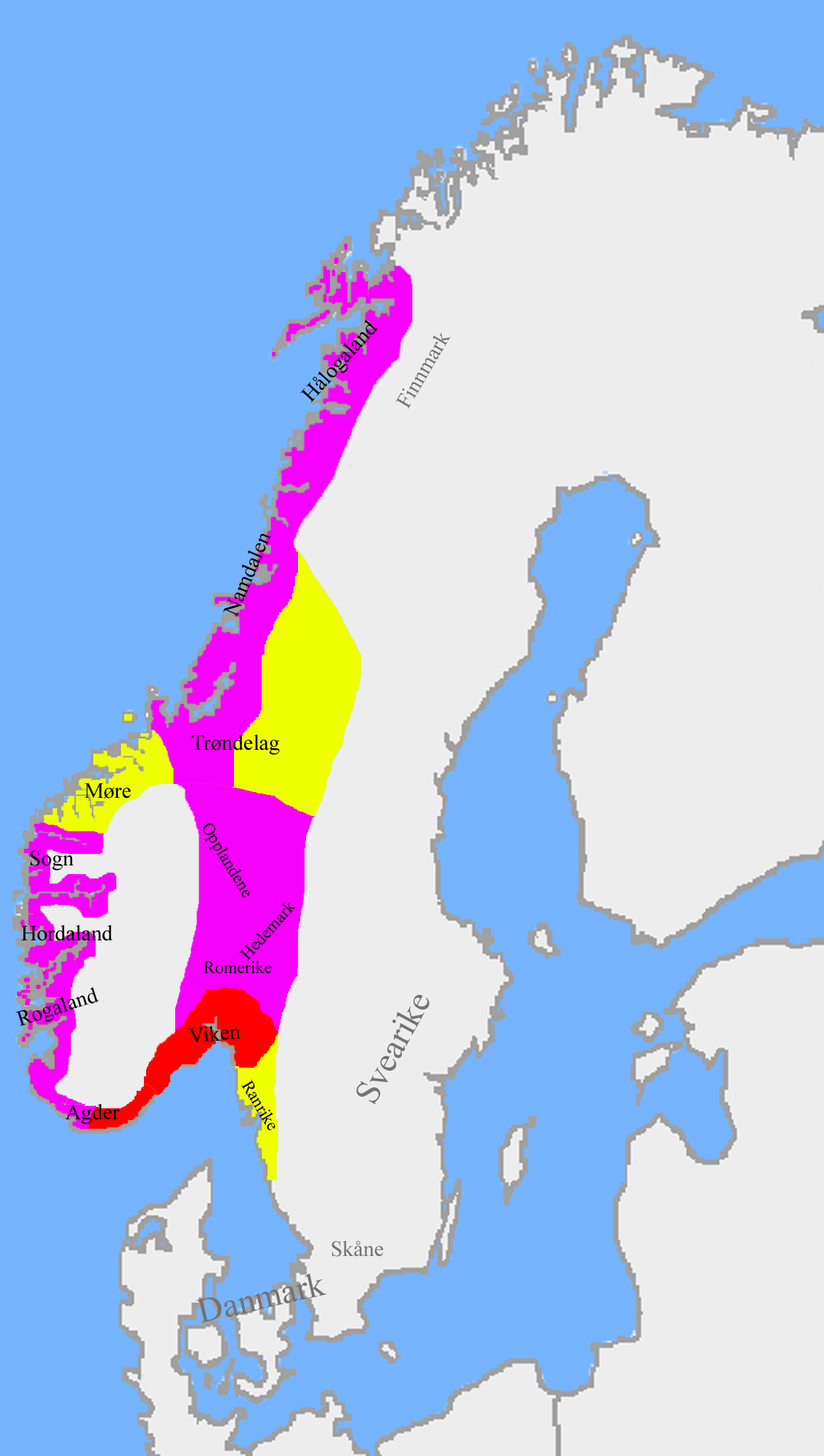 Norway 1000 Ad The Division Of The Kingdom After The Battle Of Svolder 1000 Between Sweden Yellow Denmark Red A History Of Norway Norway Historical Maps