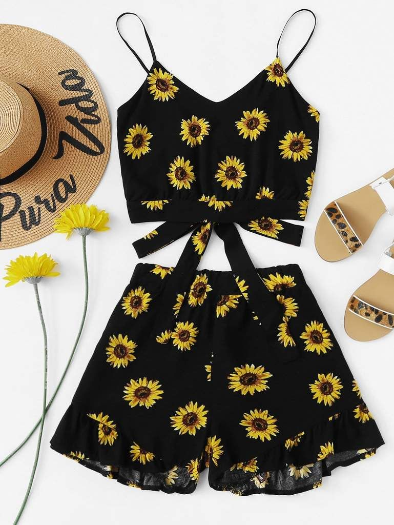 Sunflower Print Cami With Ruffle Hem Shorts is part of Outfits - Suit Type Shorts Composition 97% Polyester, Spandex Pattern Type Floral Neckline V neck, Spaghetti Strap Sleeve Length Sleeveless Details Ruffle Hem, Knot Style Boho Bust (cm) S 70 cm Waist Size (cm) S 5868 cm Hip Size (cm) S 100 cm Thigh (cm) S 62 cm Top Length (cm) S 28 cm Shorts Length (cm) S 36