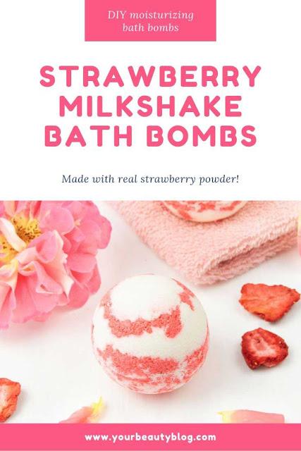 DIY Moisturizing Bath Bombs Strawberry Milkshake Bath Bombs