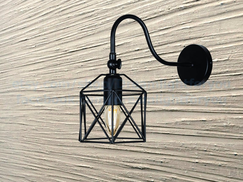Photo of Black Cage shade Wall Sconce curved Bracket Wall light fixture Vanity light Simple Black scon…