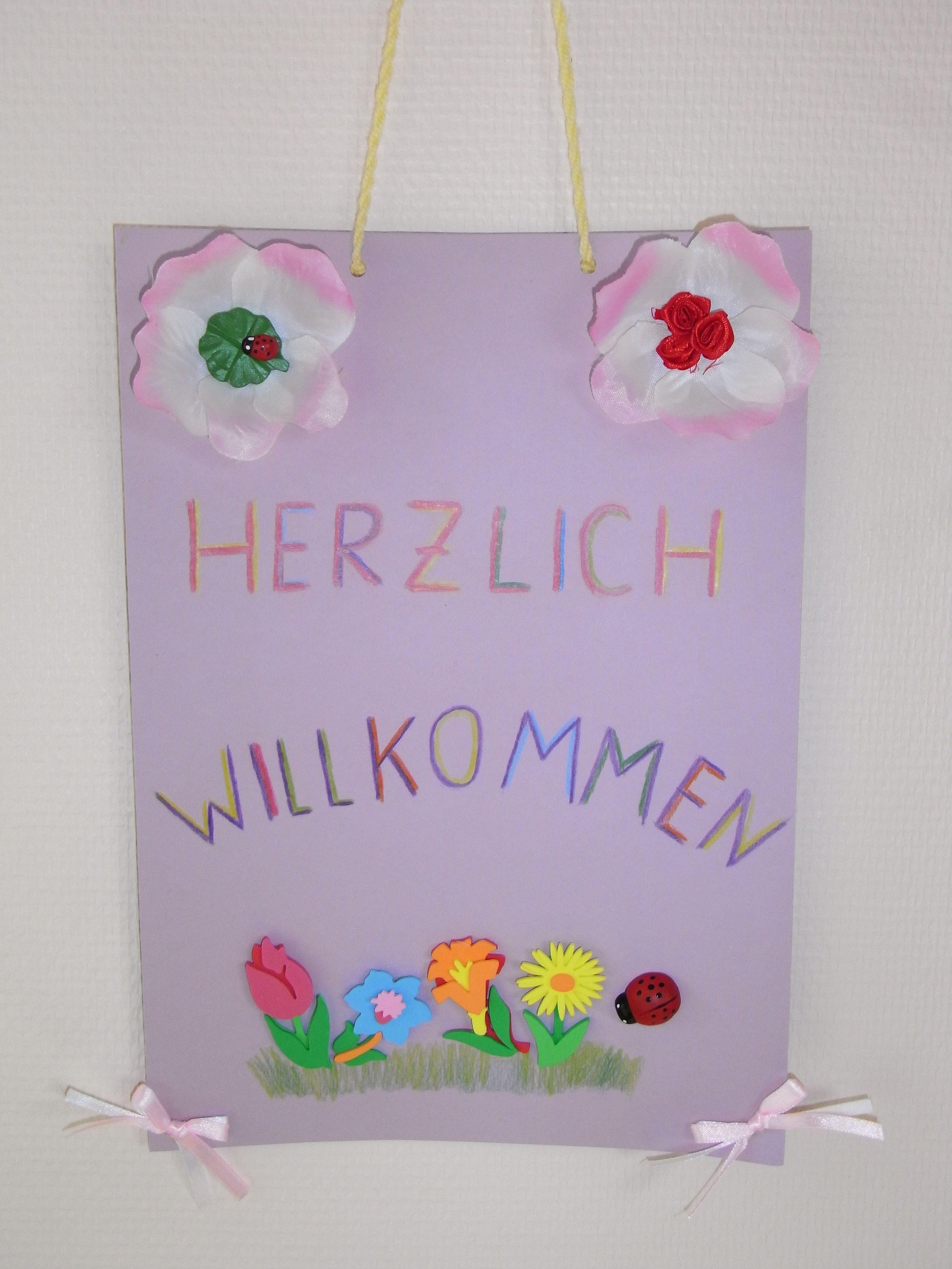 Herzlich Willkommen Schild Zum Aufhängen Aus Tonpapier Und