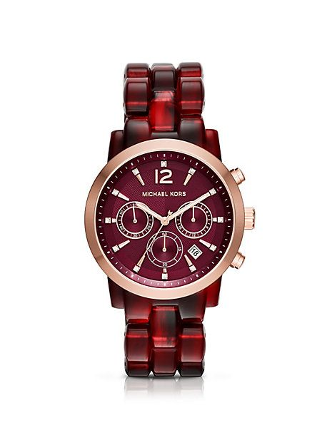 e1f410268ebe MICHAEL KORS AUDRINA BURGUNDY ACETATE AND ROSE GOLD-TONE WATCH.   michaelkors