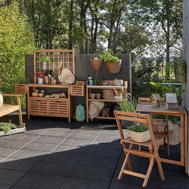 Meuble De Jardinage Wassif Avec Paroi Acacia La Redoute Interieurs La Redoute Amenager Petit Jardin Mobilier Jardin Table De Jardin