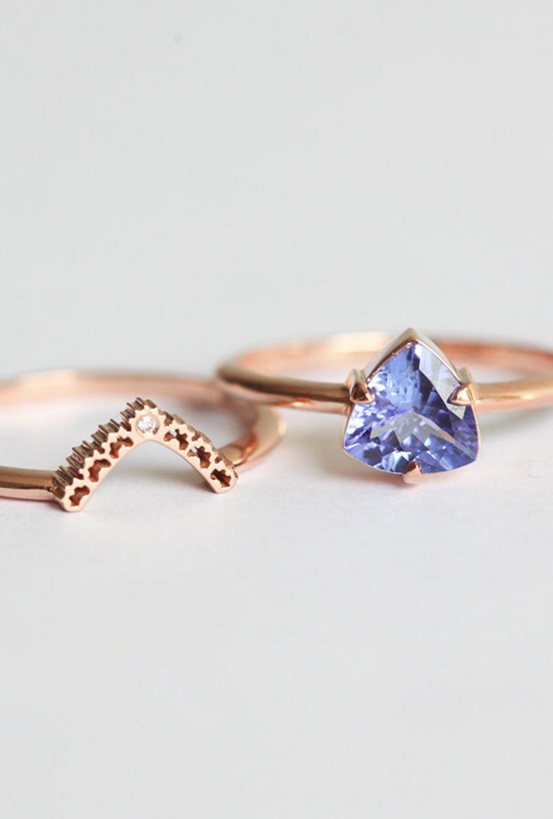 Tanzanite Diamond Lace Ring Set MinimalVS on Etsy Rings