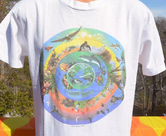 7d5cc1360acd2 vintage 90s tee shirt ANIMALS endangered nature human-i-tees save  environment love hippie earth t-shirt Medium Large by skippyhaha
