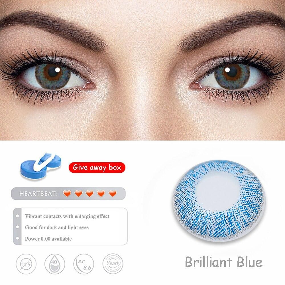 Photo of 2pcs/1pair Color Contact Lenses for Eyes Three Tone Multicolored Lenses Green Blue Brown Gray Fashion Cosmetics Colored Lenses – Brilliant Blue