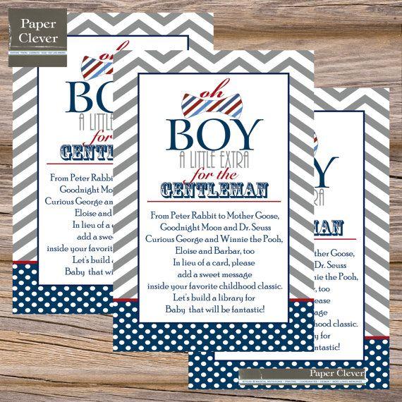 bowtie babyshower invites | Boys baby shower book insert card, bowtie, navy, red, grey - instant ...