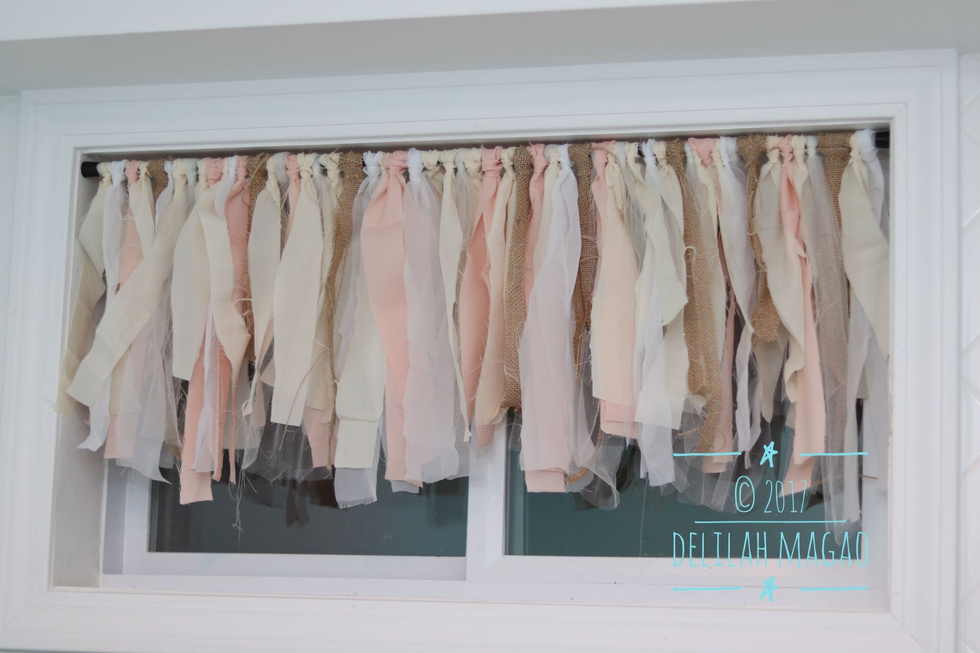 DIY Rag Valance for my country/shabby chic laundry room.