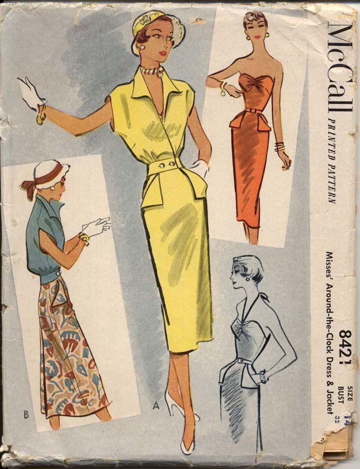 mccall 8421 misses 1950s sheath dress amp jacket pattern