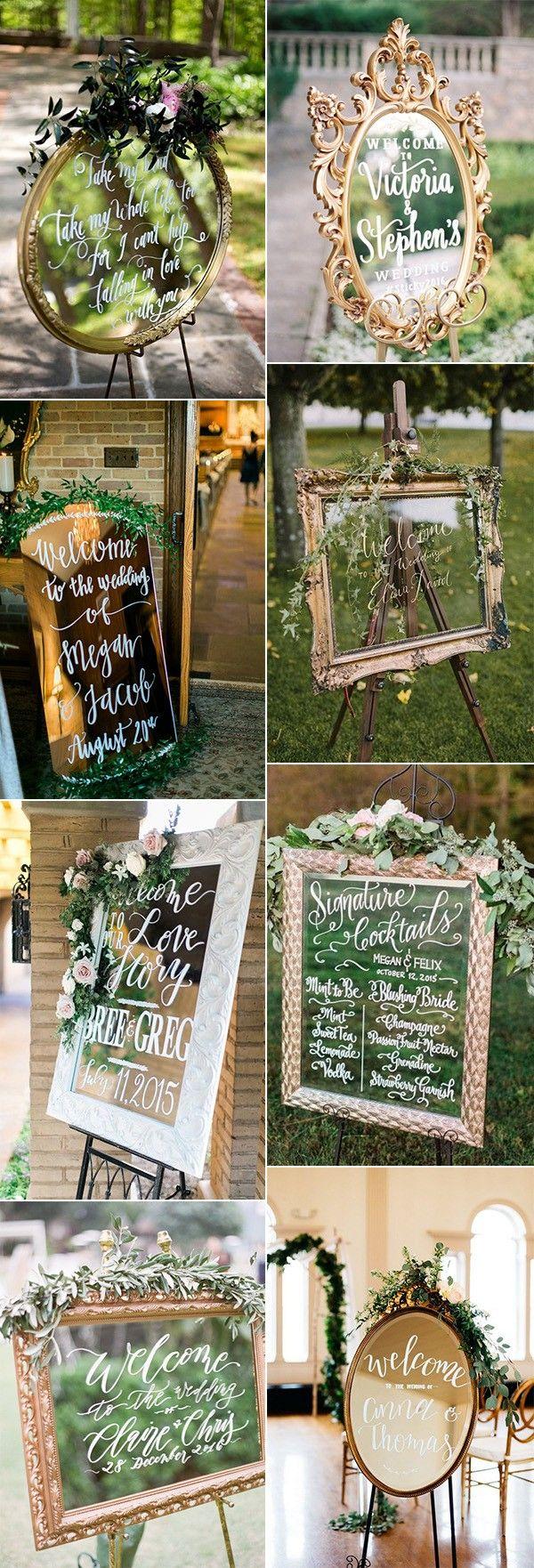 Wedding decorations vintage october 2018  Brilliant Vintage Mirror Wedding Sign Ideas for   Gowns