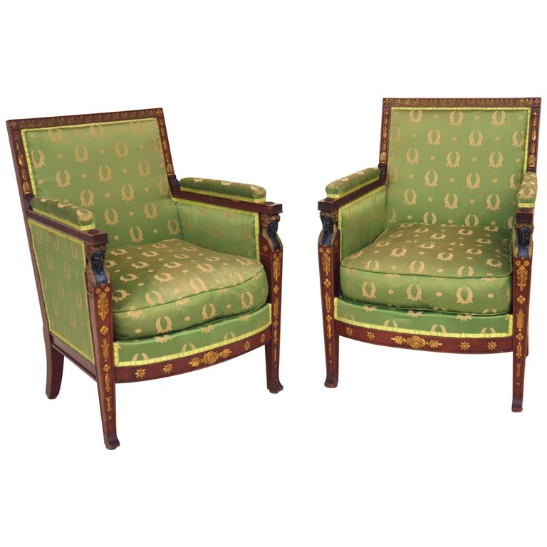Pair Of Neoclassical Empire Armchairs Mahogany Paris 1800s Chair Chair Upholstery French Chairs