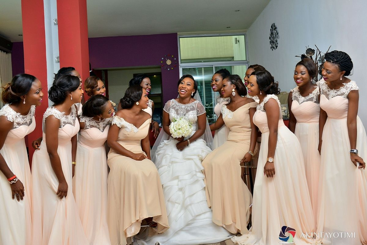White Wedding Nigerian Bridesmaids Peach