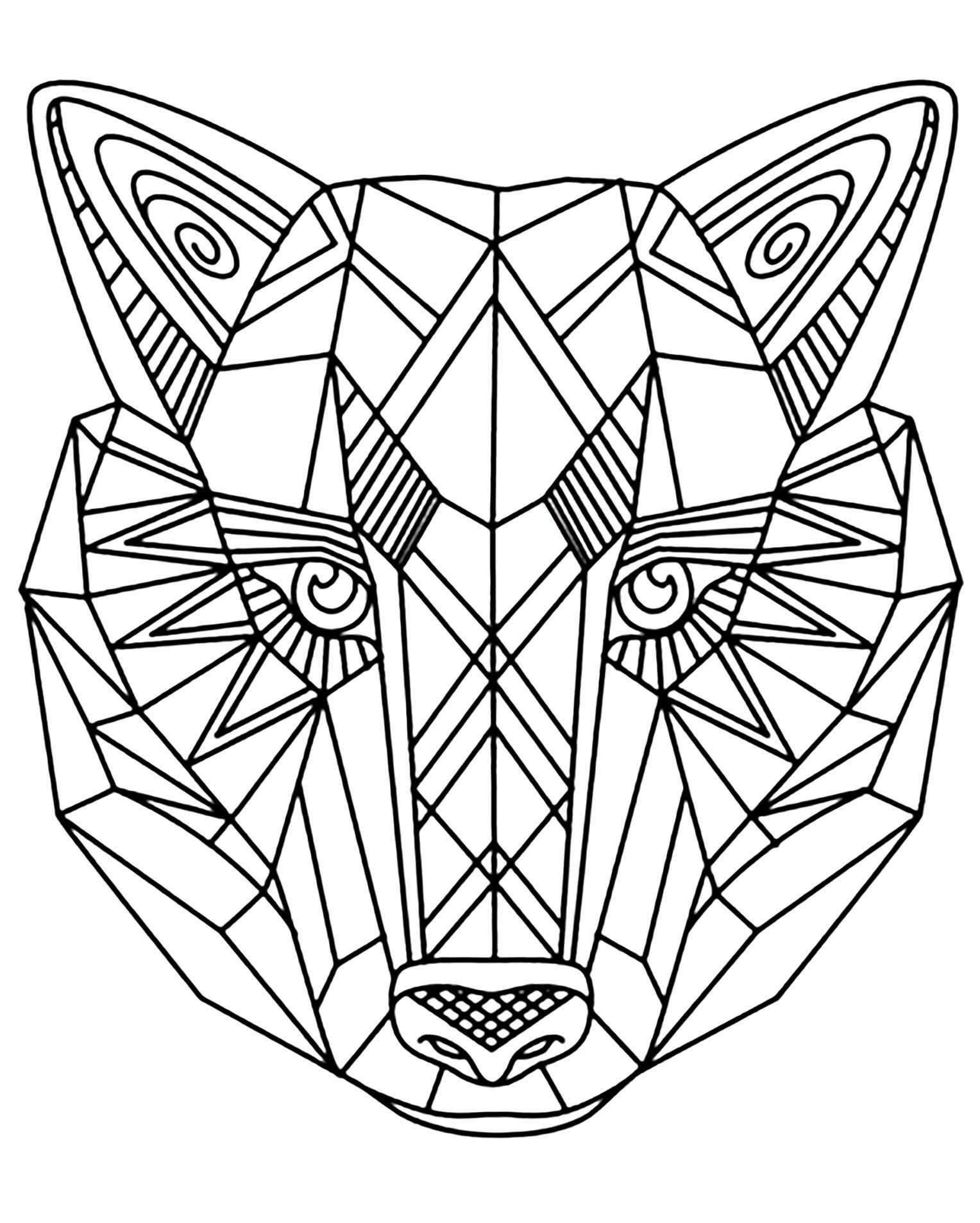 Coloring Book Pages Animals New Geometric Animal Coloring Pages In 2020 Geometric Coloring Pages Geometric Wolf Pattern Coloring Pages