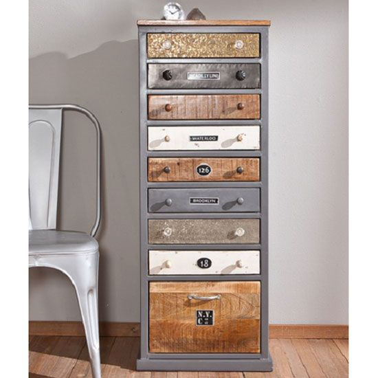 Grey Wood Chest Drawer With Lock | Cabelo Grey Metal And Solid Wood Finish  9 Drawer