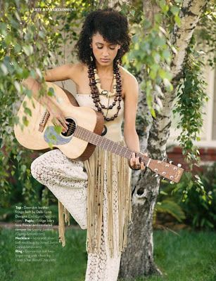 Singer Andy Allo wearing DLD fringe halter in this month's issue of Nouveau Magazine!