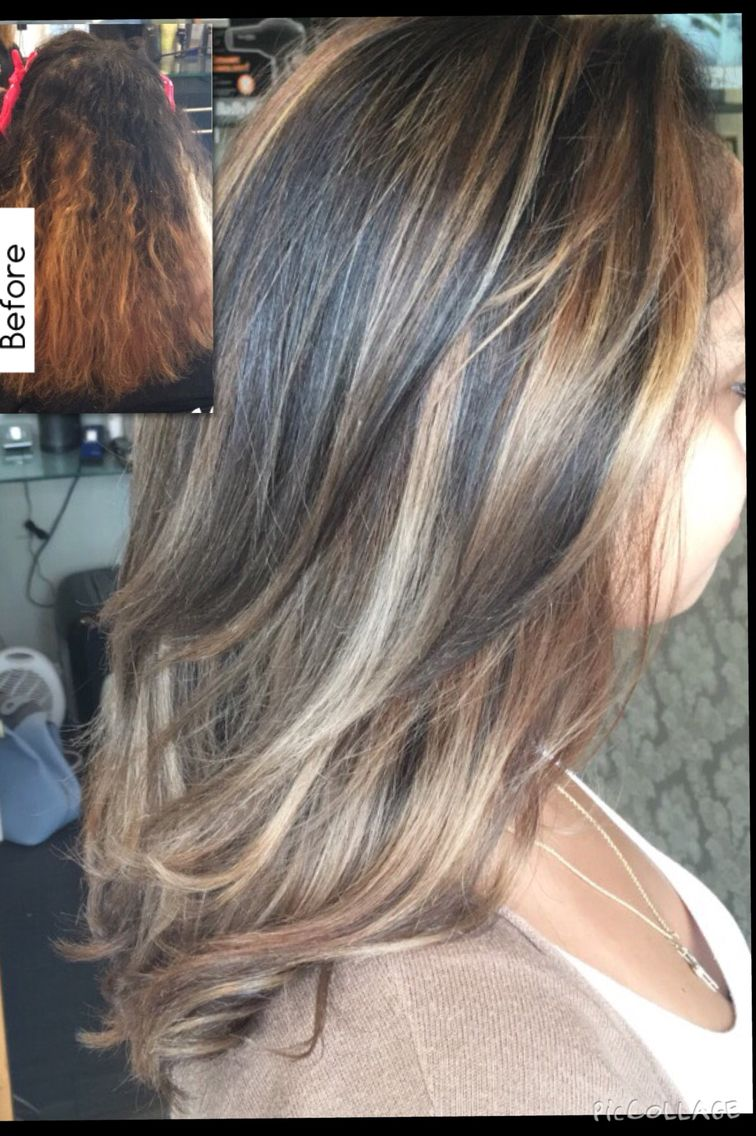 Beautiful Before After Highlights Balayage Painted Hair Hair Color