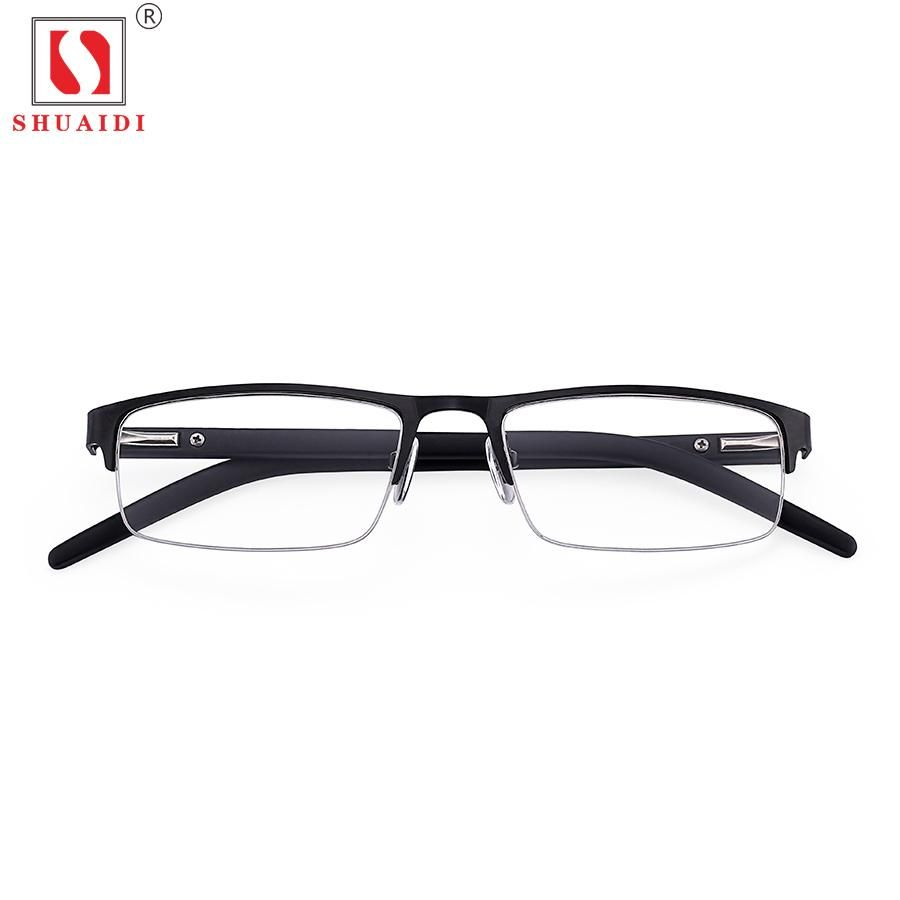 Men Women Alloy Half Frame Resin Lenses Reading Glasses