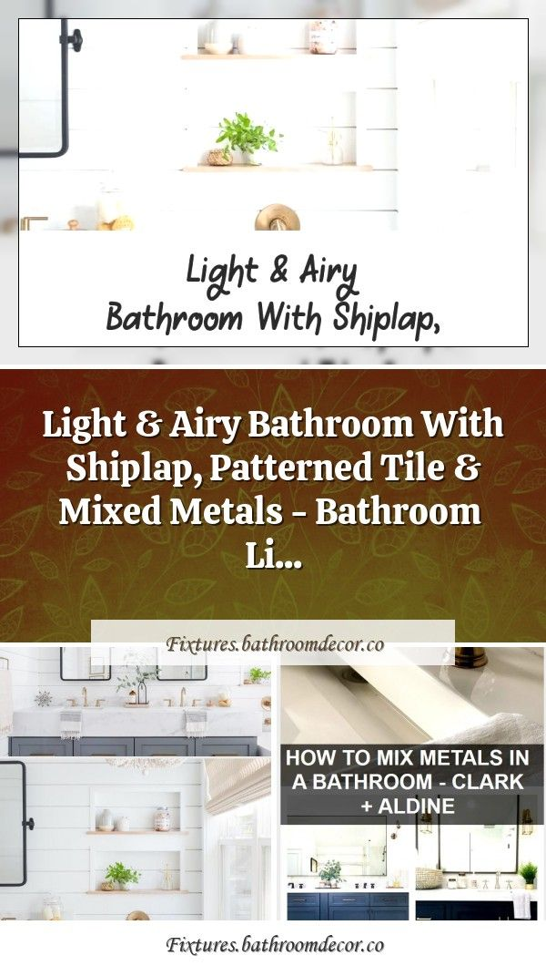 Photo of Bright and airy bathroom with shiplap, patterned tiles and mixed metals – …