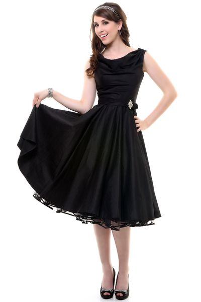 Black Scoop Neck Belted Swing Dress - Unique Vintage - Cocktail, Pinup, Holiday & Prom Dresses.