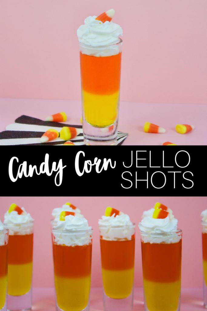Candy Corn Jello Shots #halloweenjelloshots Candy corn jello shot recipe with video to make Halloween Jello shots from your favorite candy corn candy! Recipe with video #Candycorn #jelloshot #halloweenjelloshots