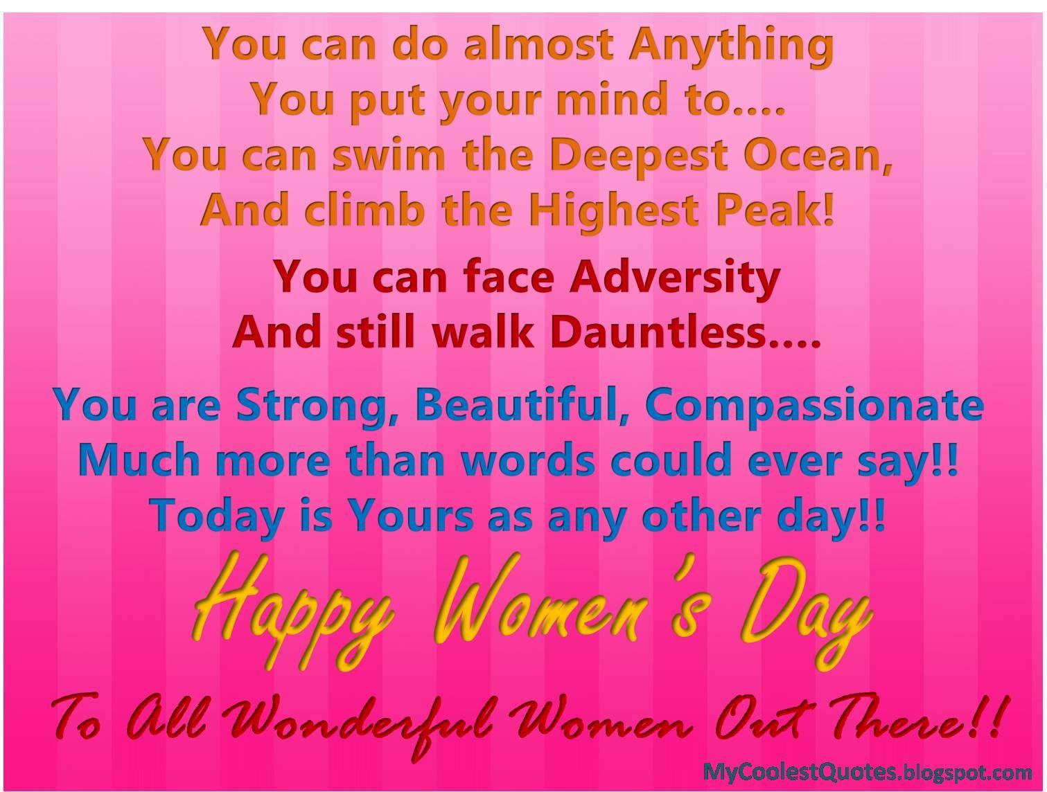 Pinterest Happy Quotes: Happy Women's Day : Women Can