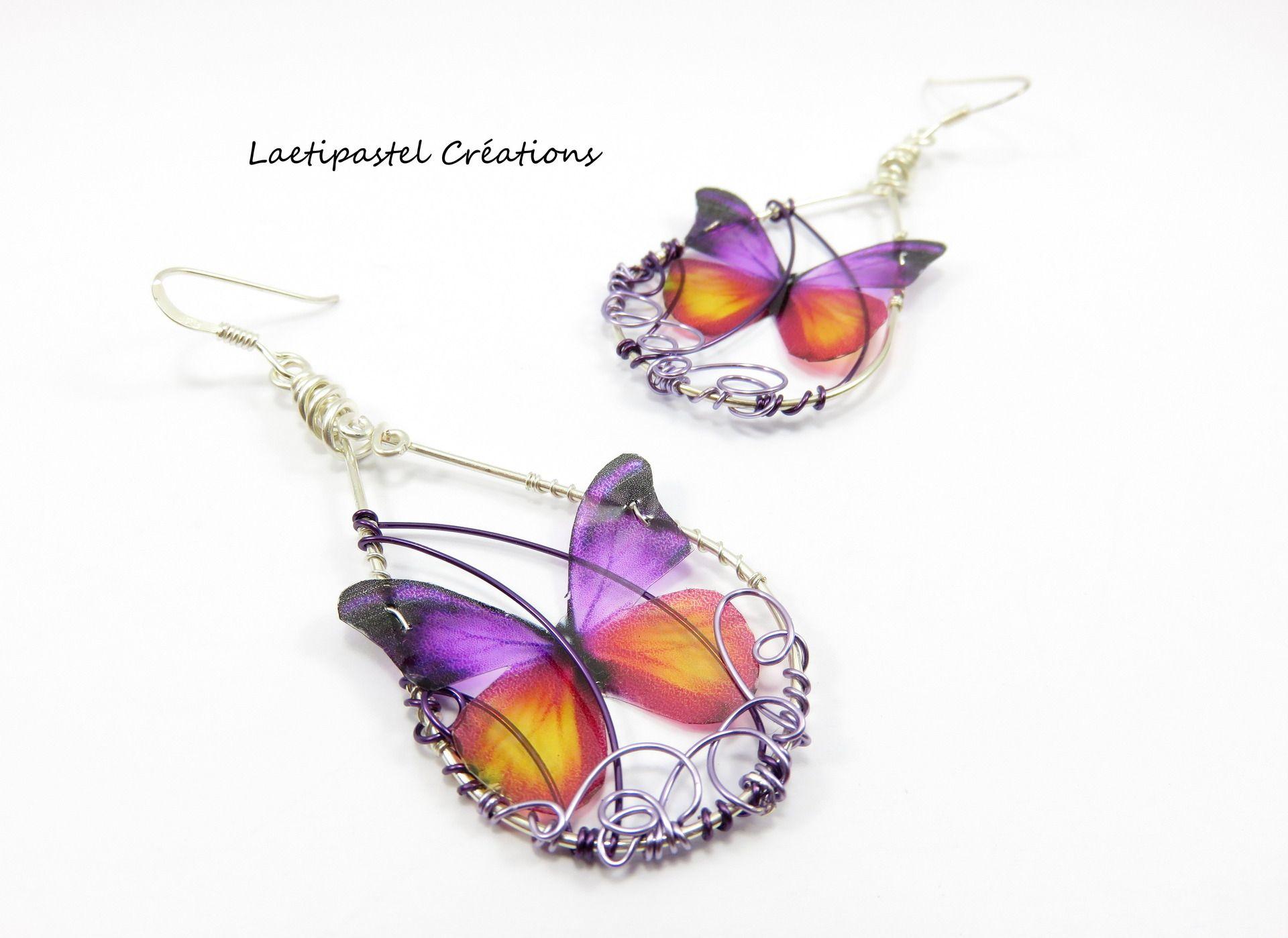 Boucles d'oreilles dissociées papillons violet et orange transparents, imaginées puis crées main, métal torsadé. : Boucles d'oreille par laetipastel                                                                                                                                                                                 Plus