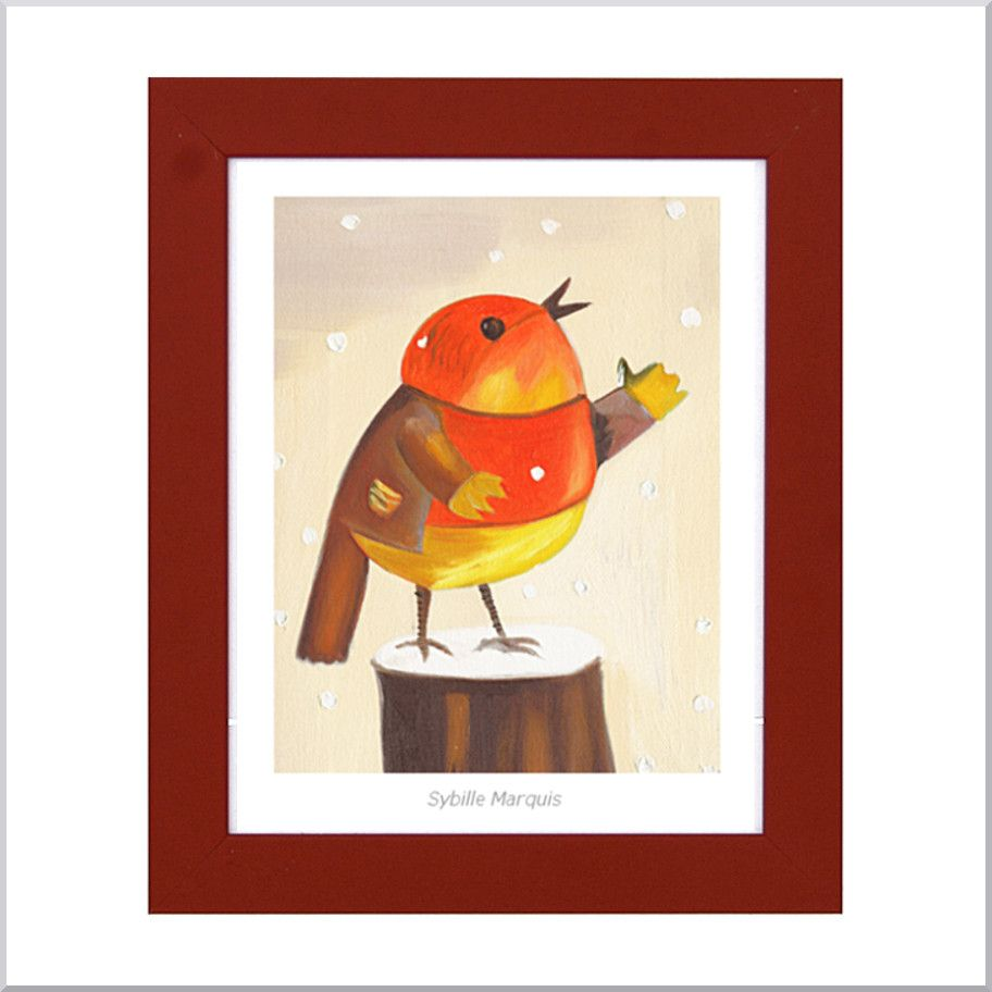 By Sybille Marquis, bird poster in a frame. So lovely and colorful !