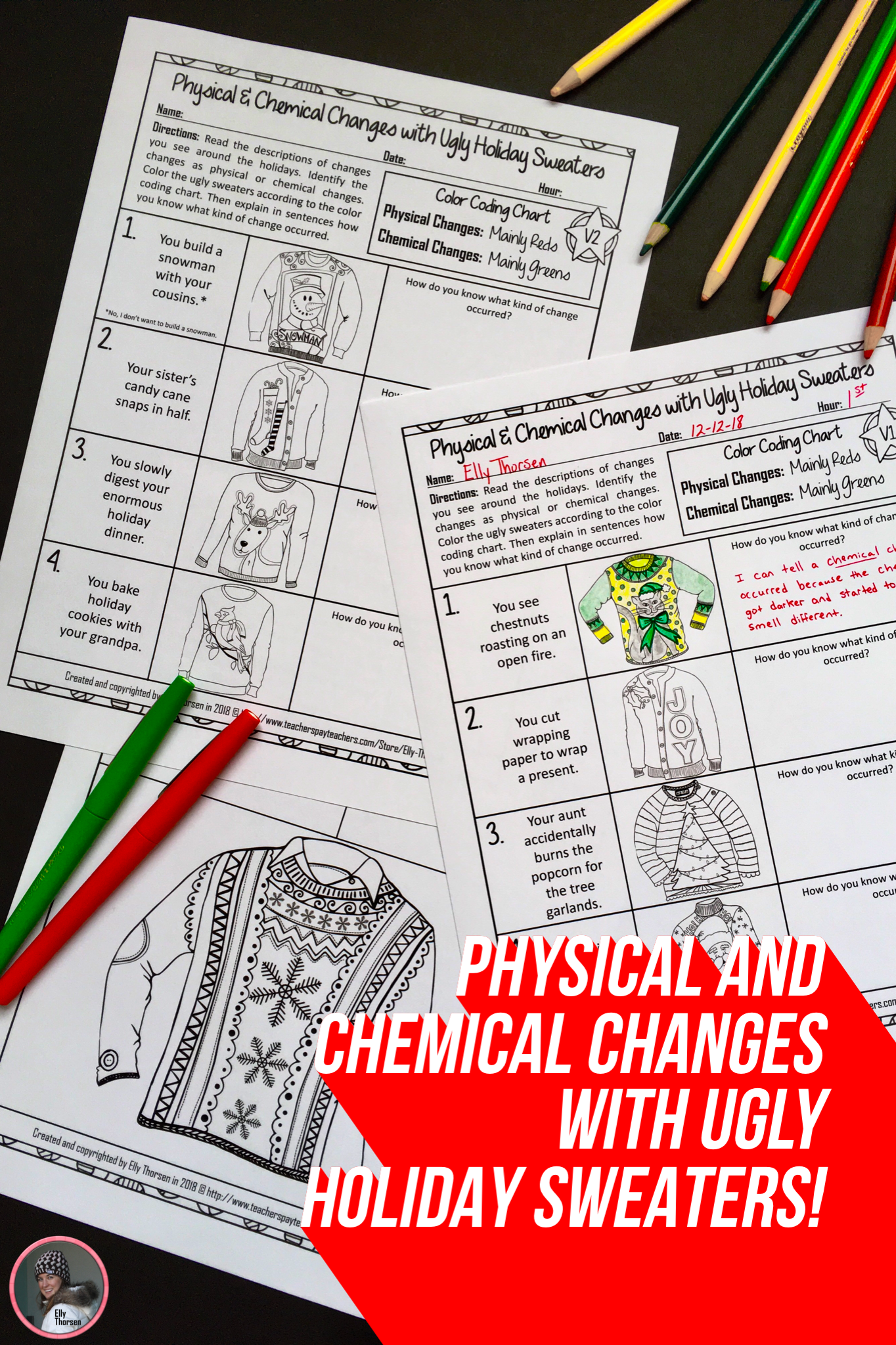 Physical and Chemical Changes Ugly Holiday Sweater Coloring