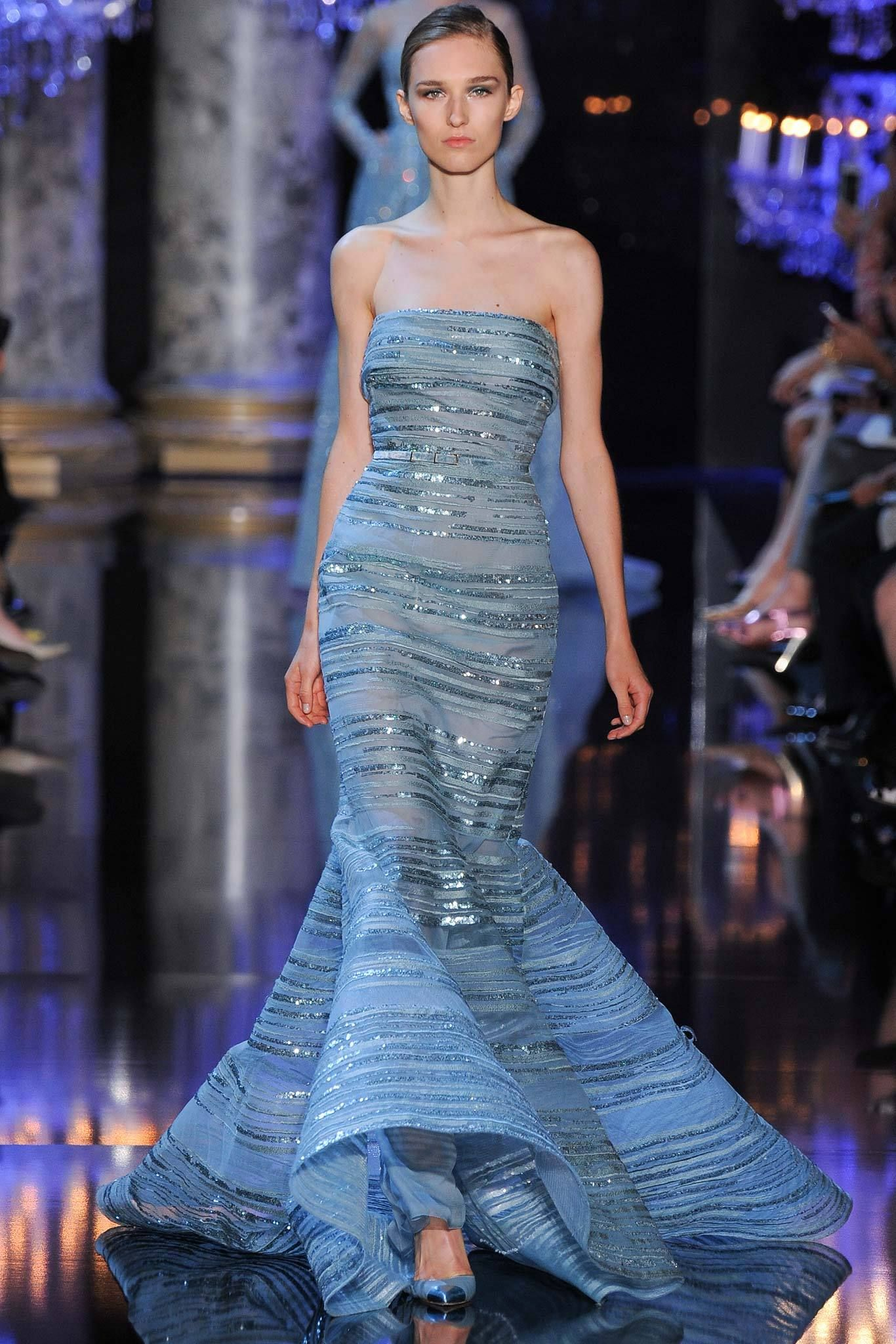 Elie saab fall couture blue belted sequined strapless