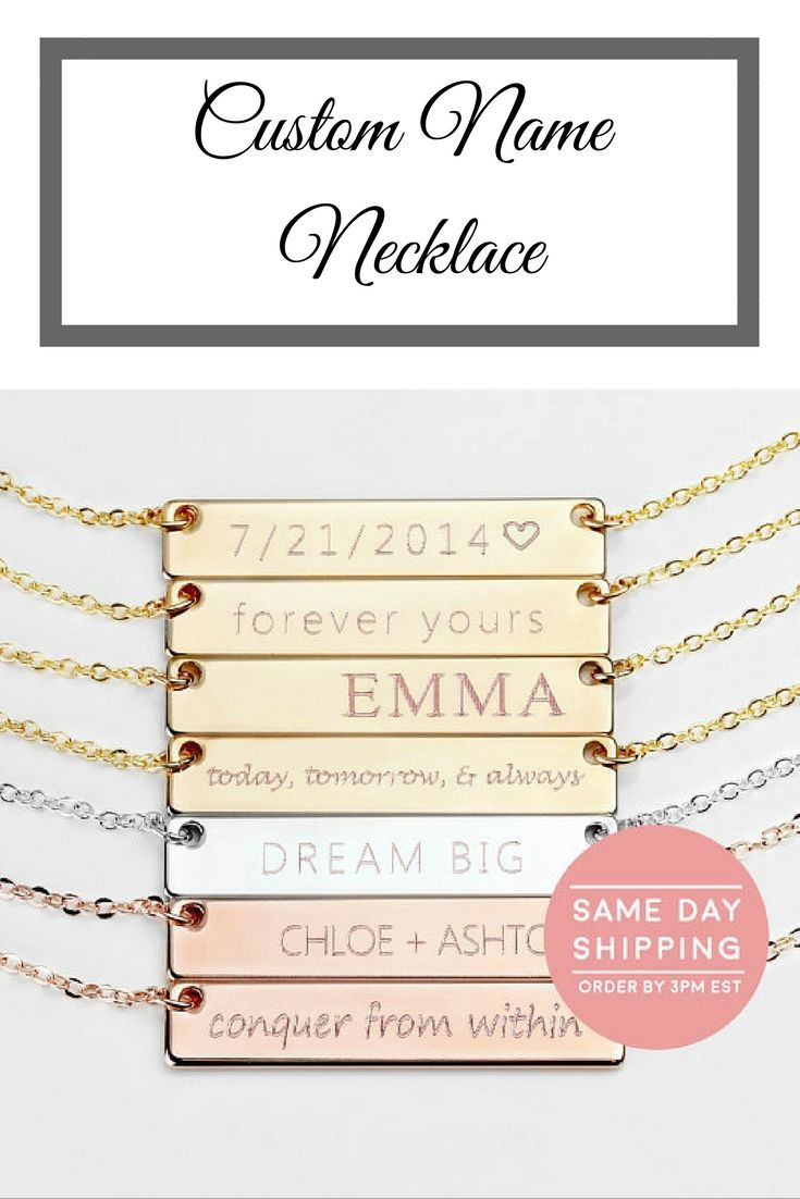 Custom Name Necklace Bridesmaid Gift Name Bar Necklace Personalized ...