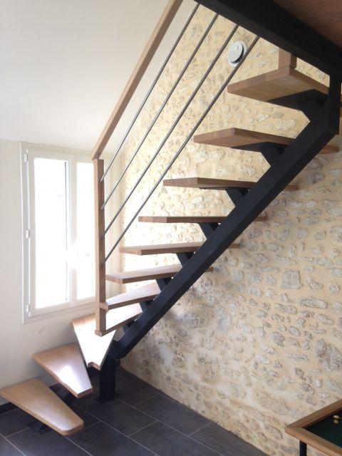 escalier m tallique et bois escalier sur mesure limon central en m tal et marches en h tre. Black Bedroom Furniture Sets. Home Design Ideas