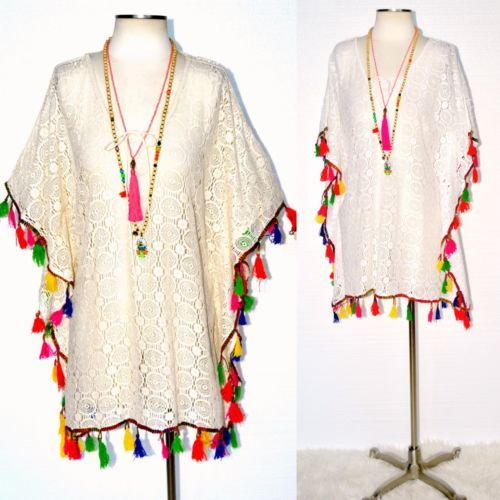 LA PLAYA Boho Fiesta Fringe Crochet Lace Up Beach Kaftan Tunic Ivory or White