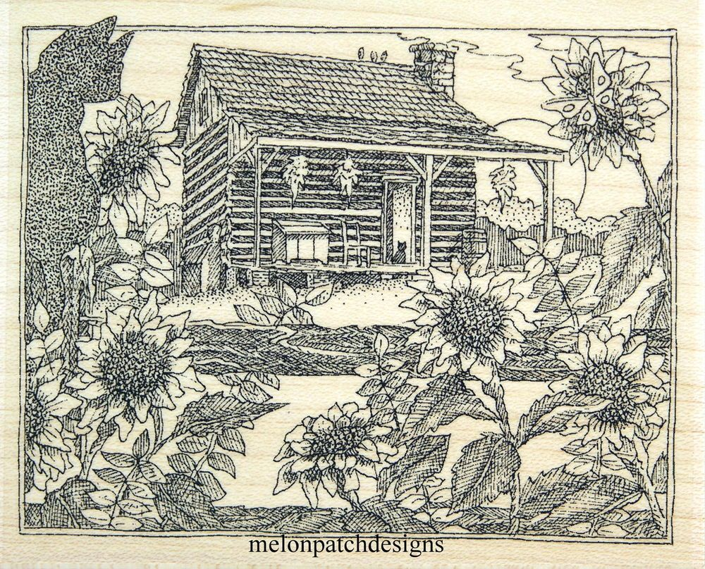 New H1963 FALL LOG CABIN Sunflower SCENE Rubber Stamp IMPRESSION OBSESSION #ImpressionObsession