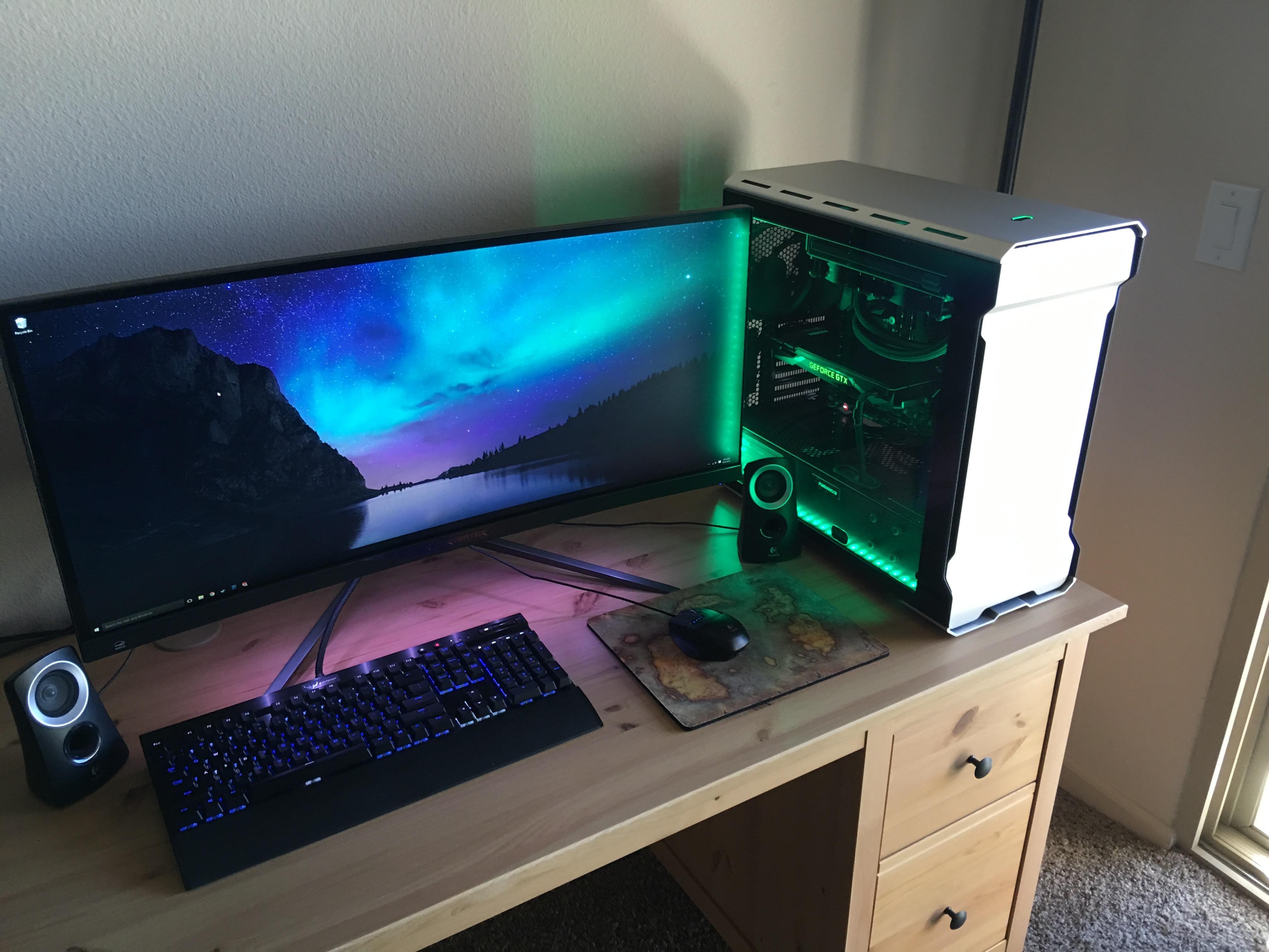 new battlestation with a custom engraved zelda desk gaming room setup. Black Bedroom Furniture Sets. Home Design Ideas