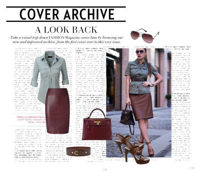 """""""chocolate and burgundy"""" by berta93 ❤ liked on Polyvore featuring Ray-Ban, LE3NO, Lapis Italia, Hermès, FOSSIL and Yves Saint Laurent"""