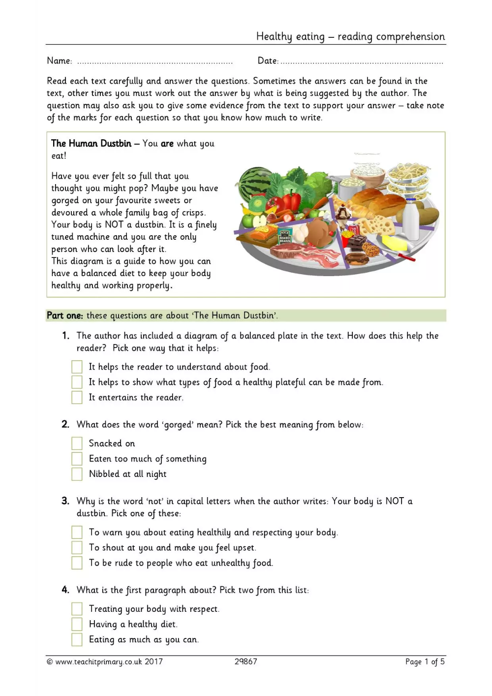 Healthy eating reading comprehension in 2020 Healthy