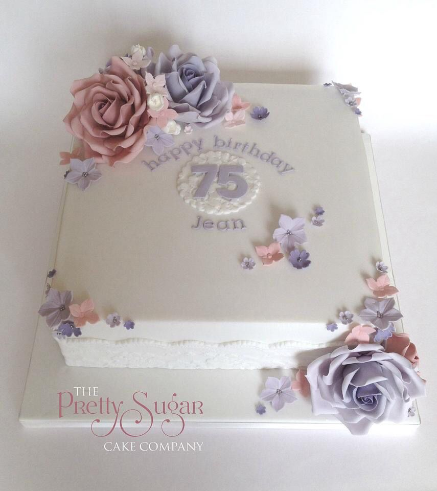 Pretty 75th Birthday Cake Seventyfifth Birthdaycakes Lilac Blush Vintage Sugarroses Blossoms Hydrangea Lace Lacecakes Celebrationcakes