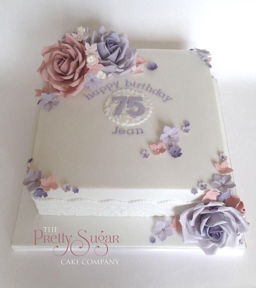 Pretty 75th Birthday Cake Bizcochos Para Damas Pinterest 75th